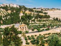 Fågels en sikt för öga av Mountet of Olives arkivbilder
