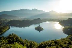 Fågelsikt på Bled sjön i Slovenien Royaltyfria Foton