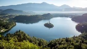 Fågelsikt på Bled sjön i Slovenien arkivbilder