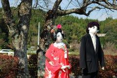 Fågelskrämma av den japanska bröllopdräkten Royaltyfri Fotografi