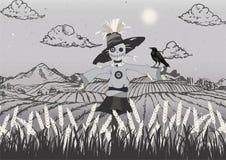 Fågelskrämma på fältsvarten och grått vektor illustrationer