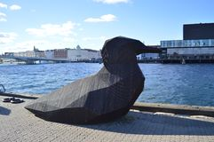 Fågelskulptur i Köpenhamn Arkivbild