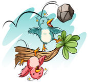 Fågelslag vid stenen stock illustrationer