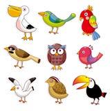 fågeltecknad filmsymbol vektor illustrationer