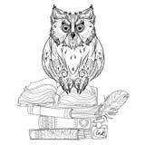 Fågeluggla på böcker stock illustrationer