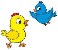 Fågelunge och fågel (vektorn) vektor illustrationer