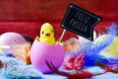 Fågelunge som dyker upp från en ägg- och textfelizpascua, lyckliga easter I Royaltyfri Fotografi
