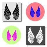 Fågelvingar Plan vektorsymbol vektor illustrationer