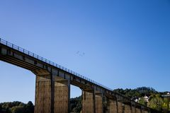 Fåglar över bron Arkivbilder