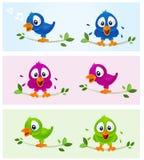 fåglar color mång- royaltyfri illustrationer