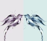 fåglar färgat förälskelsevatten vektor illustrationer