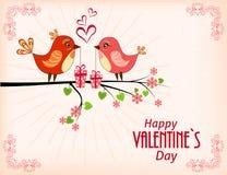 fåglar gulliga två Kort för valentindag Arkivbild