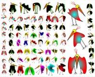 Fåglar i combo handling Arkivfoto
