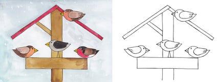Fåglar i förlagemataren Arkivfoton