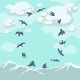 Fåglar i flykten över bergblasten Stock Illustrationer