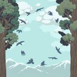 Fåglar i flykten över skogen Royaltyfri Illustrationer