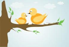 Fåglar i träd vektor illustrationer