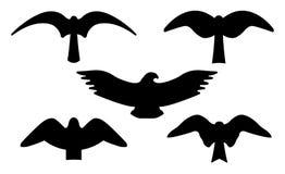 fåglar like musikanmärkningssilhouettes arkivbild