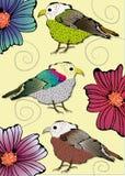 Fåglar med blomman Royaltyfri Fotografi
