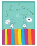 Fåglar, musik och förälskelse royaltyfri illustrationer