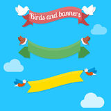 Fåglar och baner vektor illustrationer