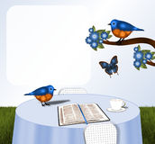 Fåglar och bibel på tabellen Royaltyfri Foto