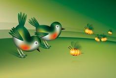 Fåglar och bina Royaltyfri Bild