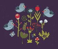 Fåglar och blommor. Royaltyfria Foton
