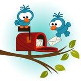 Fåglar och brevlåda med post royaltyfri illustrationer