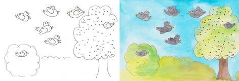 Fåglar och körsbär Arkivfoton