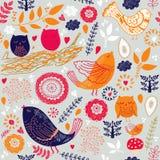 Fåglar och leaves royaltyfri illustrationer