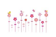 Fåglar på blommor royaltyfri illustrationer