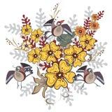 Fåglar på blommorna Royaltyfri Bild