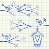 Fåglar på en trädteckning Fotografering för Bildbyråer