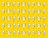 Fåglar på gul bakgrundsmodell Royaltyfria Bilder