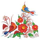 Fåglar på ukranian stilvektor för filialer Vektor Illustrationer