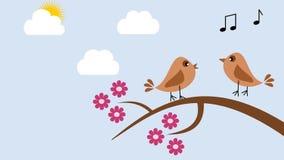 Fåglar på våren som sjunger stock illustrationer