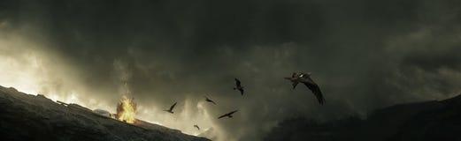 Fåglar som flyger i väg från stormiga moln och brasa i den höga mouen royaltyfri illustrationer