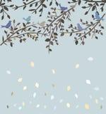 Fåglar som sitter på filialer stock illustrationer