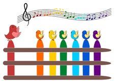 Fåglar som sjunger vektorn Royaltyfri Foto