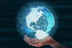 Fånga den snabba rörande världen Futuristisk jordklotsfär som ledas som omges av anslutning för globalt nätverk vektor illustrationer