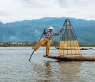 fånga fiskfiskare som fiskar växa ut dammvassstänger som klibbar tre Royaltyfri Bild