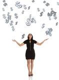 fångande dollar för affärskvinna som faller ner Arkivbild