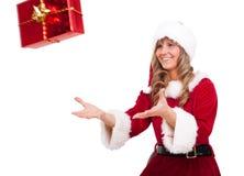 fångande för kvinnaxmas för jul aktuellt barn royaltyfri fotografi