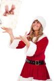 fångande för kvinnaxmas för jul aktuellt barn royaltyfria foton