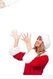 fångande för kvinnaxmas för jul aktuellt barn fotografering för bildbyråer