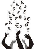 fångande pengar Fotografering för Bildbyråer