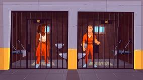 Fångar i orange jumpsuits i fängelsearrest stock illustrationer