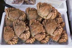 Fångar krabbor förberett för att sälja i marknaden i Hokkaido, Japan Royaltyfri Foto