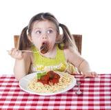 Fångat äta en meatball Arkivbilder